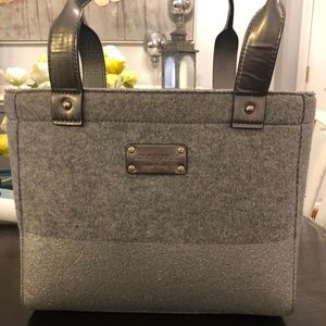 Kate Spade grey flannel/sparkly bag